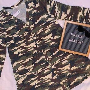 🆕 Entro Long-Sleeve Camo Dress/Cardigan